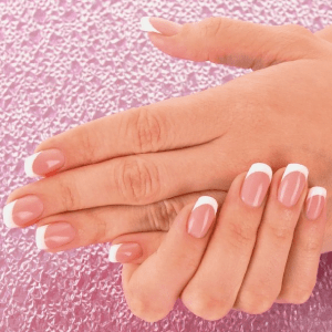 Dip Powder White & Pink on Natural Nails