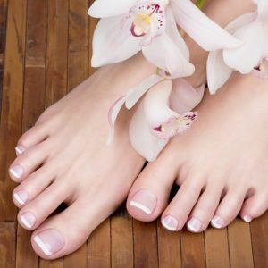 Gel Color Change (with French or Glitter) Pedicure